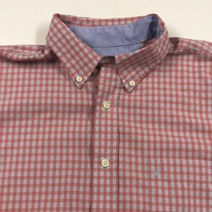 NAUTICA Mens S/S Watermelon Gray Shirt Large